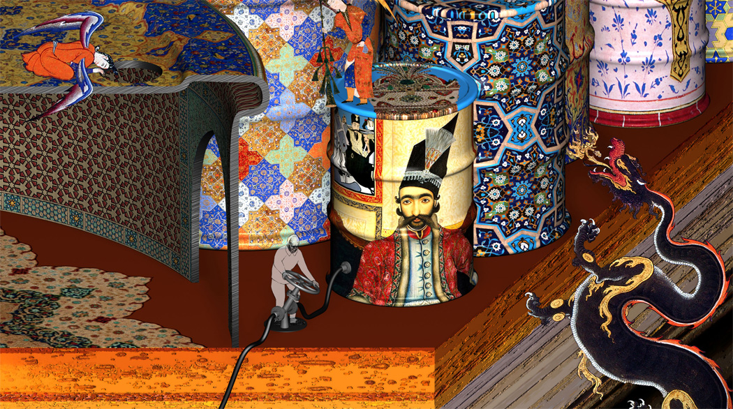 The Qajar kings shown on the oil barrel are Nasir-al Din Shah, who granted Iran's tobacco concessions to Great Britain in 1890, and his successor Mozaffar ad-Din Shah, who in 1901 granted Iran's oil concession to the British company known today as BP Oil.