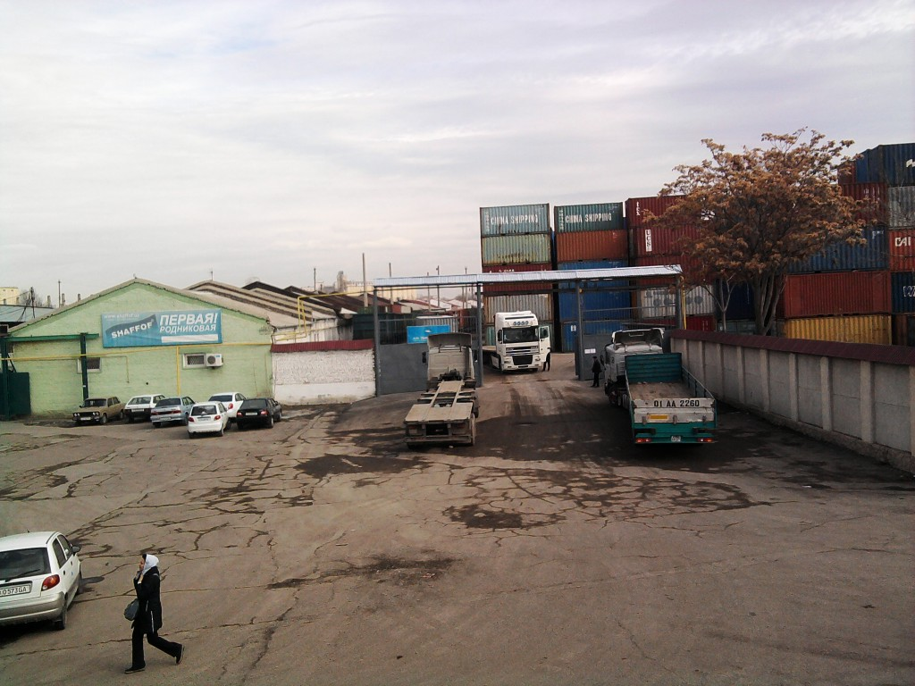 Trucks at the transport center - photograph taken by author
