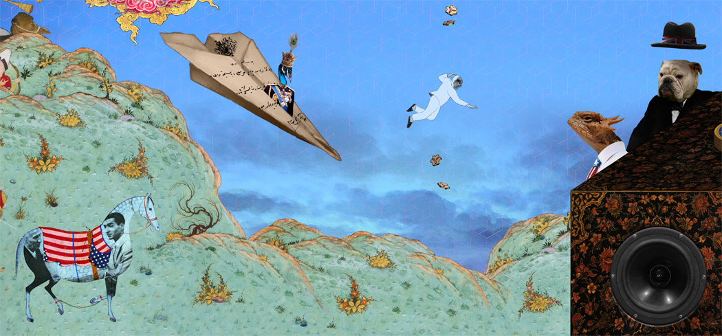 The Cat and the Coup is a massive digital collage comprised of illustrations from 13th - 16th century Persian manuscripts and 20th century photographs and print documents, including quotes from the New York Times and leaked CIA documents.
